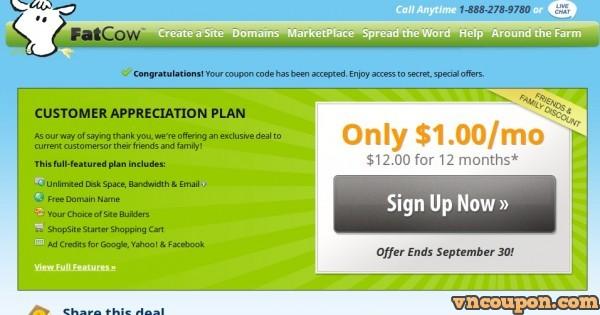 Fatcow Secret Offer –  无限 Hosting 仅 $1每月