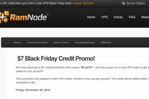 [黑色星期五 2014] Ramnode – get $7 credit promo
