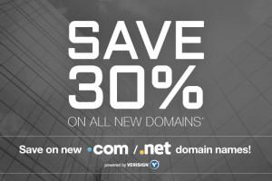 域名.com – 节省 优惠30% for New 域名 Registration