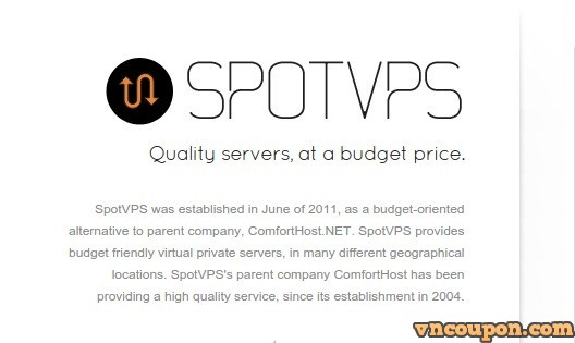 SpotVPS.Com 72 Hour Sale – 2GB内存20GB Pure SSD VPS 仅 $30每年