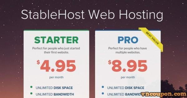 StableHost offering 优惠50% New 无限 Hosting Plans