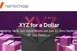NameCheap – Happy Birthday .xyz! – 域名 .xyz registrations 仅 $1 首年