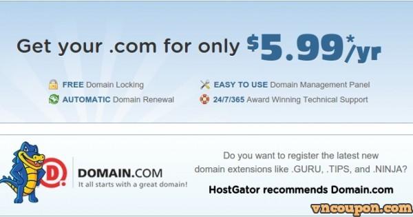 HostGator – Get your .com 域名 for 仅 $5.99每年