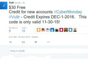 [Cyber Monday 2015] Vultr – $30 免费Credit 限新客户s