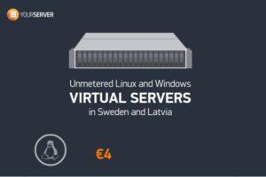 Yourserver.se – SSD VPS Unmetered流量 最低 $4每月 in Sweden、Latvia