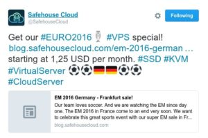 EURO 2016 sale! VPS 特价机 from Safehouse Cloud in Frankfurt, Germany