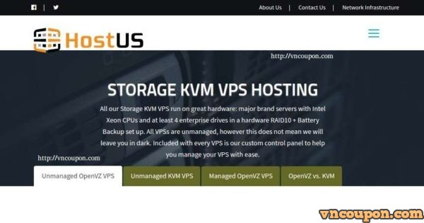 HostUS – Storage KVM VPS 最低 $10每季度or $33每年
