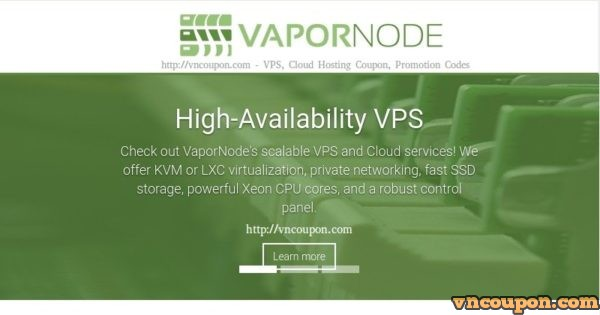 VaporNode – 特价机 2GB 内存 OpenVZ, LXC、KVM VPS 最低 $5每月 in Tampa Florida