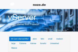 noez.de 95 Cent vServer – 3 vCPUs/ 1.5GB 内存/ 100GB HDD in Frankfurt