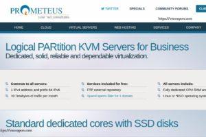 Prometeus LPAR – KVM Servers Dedicated CPU for Business 最低 €8每月  – 25%永久折扣 for life!