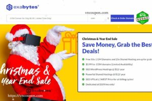 Exabytes –圣诞节 & Year End 2017 Sale – $3.99 for .COM – Hostings @ $12/ year