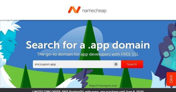 Namecheap – Register your .APP 域名、get a 免费PositiveSSL certificate