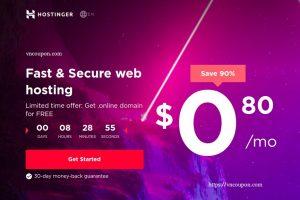 [特价机 Offers] Hostinger – 优惠90% 虚拟主机 仅 $0.80每月 + 免费域名