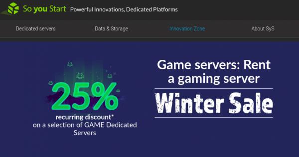 [Winter Sale] OVH So You Start – 优惠25% Dedicated Game Servers Promo