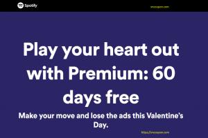 [Valentine's Day 2019] Spotify – Premium 免费for 60 days