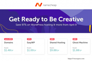 Namecheap 优惠券 & 优惠码 for 四月 2019 – 节省 97% on WordPress hosting & .COM Registration only $5.88