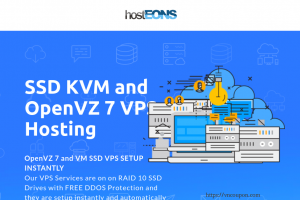 hostEONS – 最高优惠50% on KVM、OpenVZ VPS – 免费cPanel 虚拟主机 with all VPS –  unmetered traffic – RAID 10 SSD