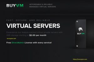 BuyVM.NET – New 特价机 KVM VPS 最低 $2.00每月 – 高性能 VPS with E3 CPU/ SSD Storage – 免费CN2流量 & DirectAdmin 控制面板