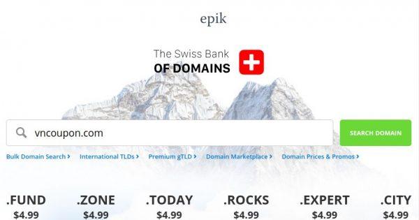 Epik 优惠券 & 优惠码 on 十月2019 – .COM Registration & 流量 仅 $5.49