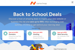 [Back to School Deals] Namecheap – Save 最高优惠99% 域名 & Hosting