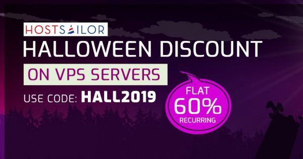 [Halloween 2019] HostSailor Crazy Deals – 优惠券 & 优惠码 2019年 – 优惠60% on all servers, SSD hosting, VPS
