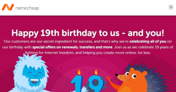 Namecheap 19th birthday – Save off 19% on renewals & 流量 – 优惠25% new .com 域名