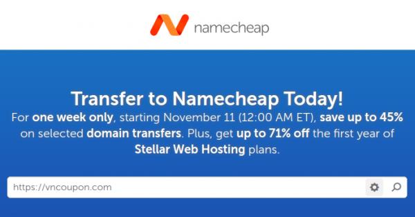 Namecheap 优惠券 & 优惠码 for 十一月2019 – Save 最高45% 域名 流量