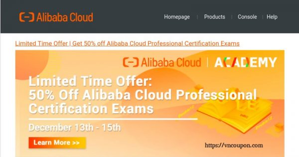 Alibaba Cloud – Get 优惠50% Professional Certification Exams