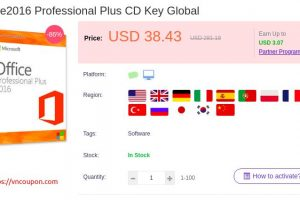 Microsoft Office Professional Plus 2016 License 仅 $38.43 (优惠86%)