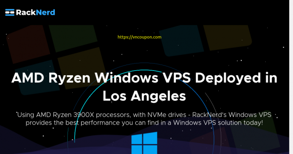 RackNerd – 优惠30% AMD Ryzen Windows VPS with NVMe SSD 最低 $10.21每月