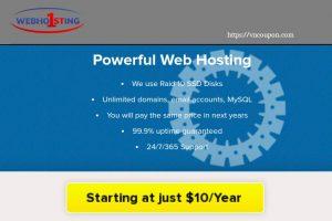 Webhosting1st – 虚拟主机 最低 $10每年 – 优惠30% for 首年