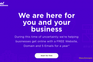 Yahoo – 免费.COM, .NET, .ORG 域名, 5 Emails for a year