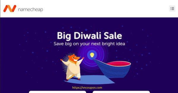 [Big Diwali Sale] Namecheap – 节省 优惠60% on your new .IN this Diwali, plus 续费& 流量 for less