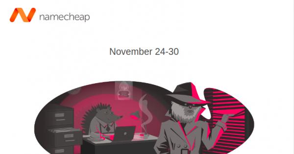 Namecheap 黑色星期五 2020 – Save off 99% 域名, Hosting