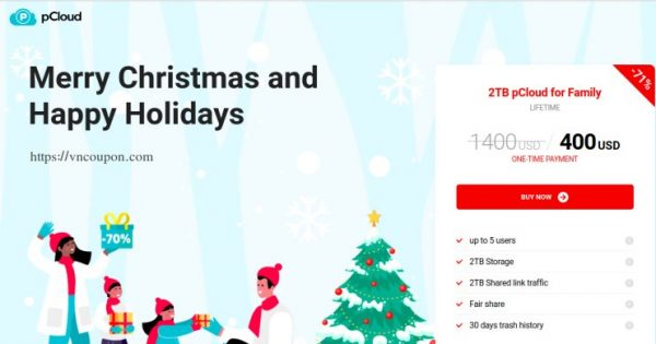pCloud Holidays Deal – 优惠70% Lifetime Cloud Storage 最低 $400 一次性 Payment