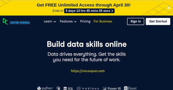 DataCamp – 免费无限 access through 四月30! Learn R, Python & Data Science Online