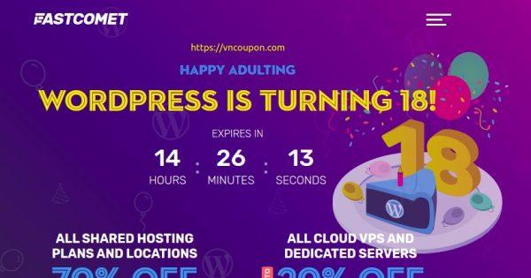 [WordPress Birthday] FastComet – 优惠70% all new 虚拟主机 & 优惠20% all new Managed SSD Cloud VPS, 独服