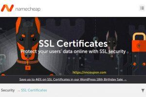 Namecheap – Save 最高46% on SSL Certificates 最低 $4.88每年