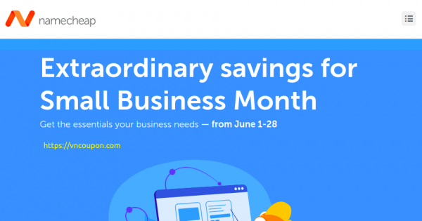 Namecheap Small Business Month Sale – 最高优惠97% 域名 & 优惠59% Hosting & Email