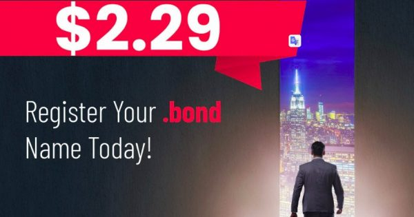 Namesilo 优惠信息、优惠券 on 八月2021 – Get your standard .BOND 域名 name for 仅 $2.29