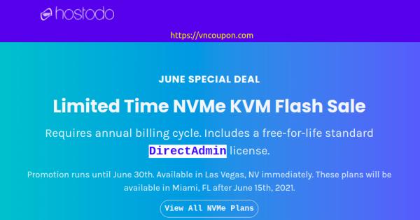 [Flash Sale] Hostodo 限时 NVMe KVM VPS 最低 $34.99每年  – 免费DirectAdmin – 拉斯维加斯 & Miami