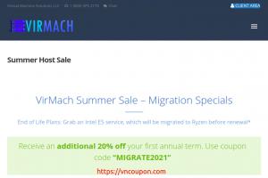 [夏季Sale] VirMach – 特价机 Ryzen VPS 提供 最低 $9每年 – Additional 优惠20% your first annual term