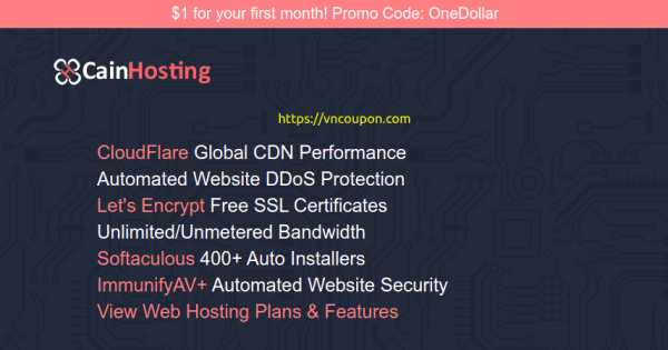 CainHosting – 优惠10% 虚拟主机 提供 – $1 for your first month