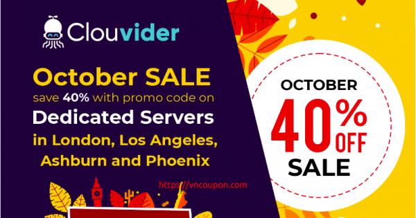[十月Sale] Clouvider – 优惠40% 独服 in伦敦, 洛杉矶, Ashburn、Phoenix