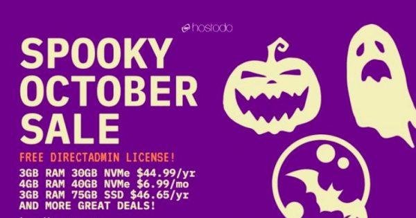 Hostodo Spooky 十月Sale – NVMe KVM VPS Promo 最低 $44.99每年 (2 vCPU +  3GB内存+ 30GB NVMe Space)