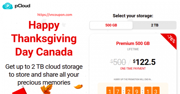 pCloud Happy Thanksgiving Day Canada – 节省 优惠76% Cloud Storage
